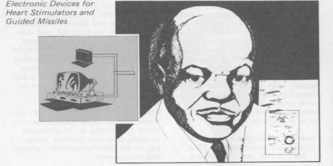 An ink drawing of Otis Boykin from a U.S. Department of Energy biographical sketch of 1979