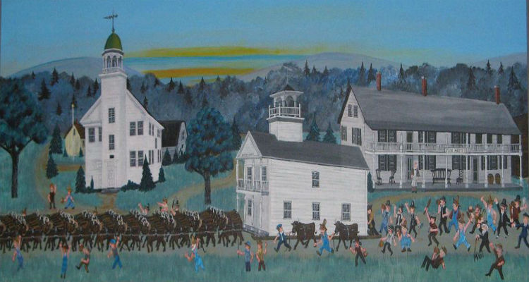 Painting of the removal of Noyes Academy