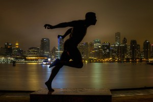 Harry Winston Jerome Statue in Stanley Park in Vancouver BC at Night