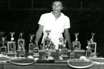 Ora Mae Washington and her trophies