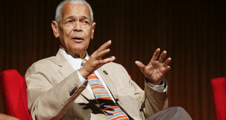 "Former NAACP chairman Julian Bond takes part in the ""Heroes of the Civil Rights Movement"" panel during the Civil Rights Summit on Wednesday, April 9, 2014, in Austin, Texas. (AP Photo/Jack Plunkett)"
