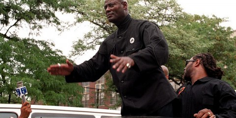 (NYT24) NEW YORK -- Feb.16, 2001 -- SUB-OBIT-KHALID-MUHAMMAD --  Khalid Abdul Muhammad, the former Nation of Islam official who was seen as a leader of the next generation of radical civil rights leaders by some and as a racist hatemonger by others, died  Saturday in a hospital in Marietta, Ga., a suburb of Atlanta. He was 53. He was taken off life support late Thursday night at Wellstar Kennestone Hospital, Nation of Islam officials said Friday. They said he had suffered a brain hemorrhage. Muhammad during the Million Youth March in Harlem in September, 1999.  (Nancy Siesel/The New York Times)