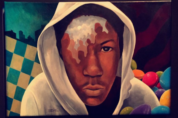 A painting of Trayvon Martin created by @BKTheArtist at Usher's art collective for social justice in New York City