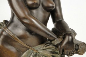 "Black ""Enslaved"" Woman statue sculpture by 19th Goldscheider"