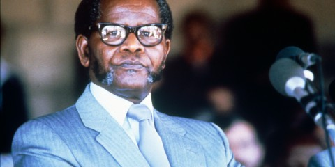President Oliver Reginald Tambo presenting a speech during an ANC conference.