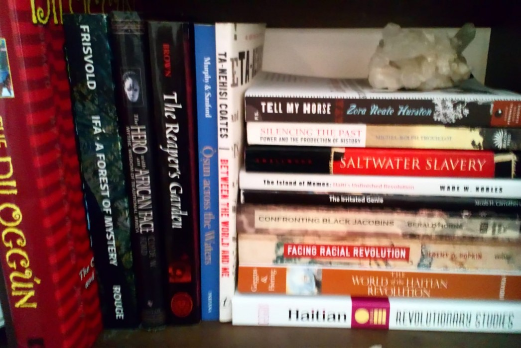 The middle shelf of my reading/writing desk