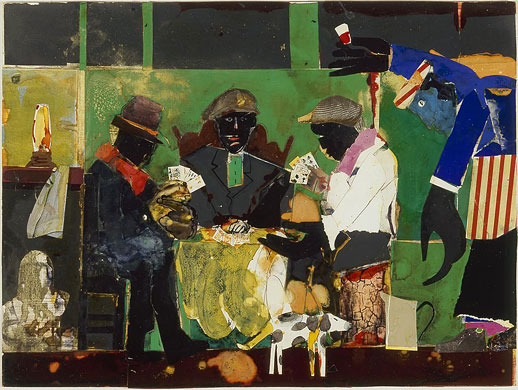Romare Bearden, Card Players, 1982 collage of various papers with paint, ink, graphite, and bleached areas on fiberboard