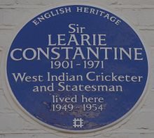 Blue plaque, 101 Lexham Gardens, Kensington, London, his home from 1949 to 1954