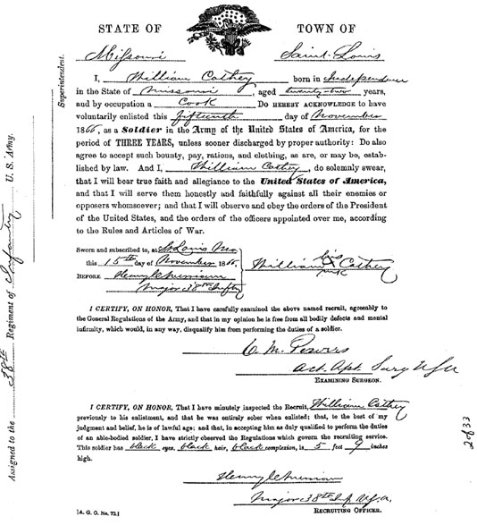 Cathay Williams enlistment papers