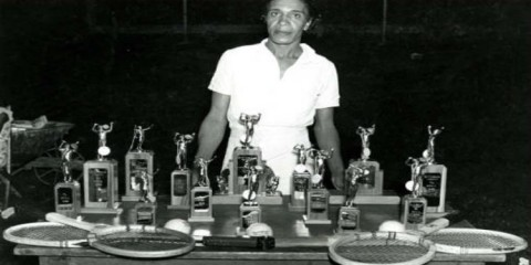 Ora Mae Washington and her trophies