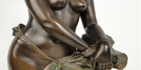 "Black ""Enslaved"" Woman statue sculpture by 19th Goldscheider"